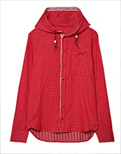 Easy Mens Cool Color Polka Dot Printing Hooded Hoody Jacket coat Red