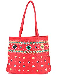 Women Cottage Red Cotton Border Patch Work Small Bag