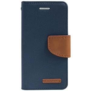 Goospery Canvas Mercury Fancy Diary Wallet Case for Samsung Galaxy J7 -Navy Blue