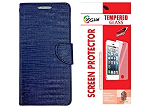 Colorcase Flip Cover Case for Reliance Jio Lyf Water 1 -Blue with Tempered Glass (Combo Set)