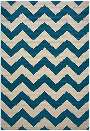 Zigzag Chevron Black Tan or Petrol Blue Tan or Grey Tan Area Rug Contemporary Modern (Petrol Blue, 4'9