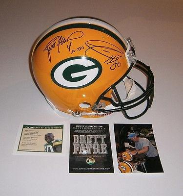 PACKERS Brett Favre Donald Driver signed Pro Line helmet w/ 36 TDs COA HOLO AUTO - Autographed NFL Helmets