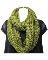 Super Soft Acrylic/Wool Chunky Knitted Circle Loop Scarf-Dk Leaf Green