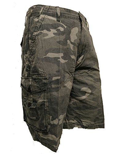 Mens Air Walk Casual Cotton Combat Camo Army Cargo Shorts (38, Dark Grey Camo)