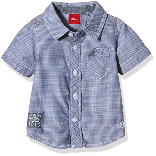 s.Oliver - mit Applikation, Camicia Bimba 0-24, Blu (as original stripes 09G5), 12 mesi (Taglia Produttore: 80)