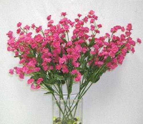 Artificial Flowers FUCHSIA Silk Mini Baby's Breath Wedding Filler Flowers Centerpiece Party Fake Craft Floral Decor 18 inches Tall (Oasis Bunch Cutter compare prices)