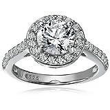 Platinum-Plated Sterling Silver Swarovski Zirconia Round-Cut Halo Ring (1.5 cttw), Size 5