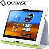 CAPDASE docomo GALAXY Tab 10.1 LTE SC-01D / SAMSUNG GT-P7510 専用 Protective Case FolioDot, White/Green スタンド機能つき ブックタイプ レザーケース 「フォリオ・ドット」 ホワイト/グリーン SLSGP7510-P026