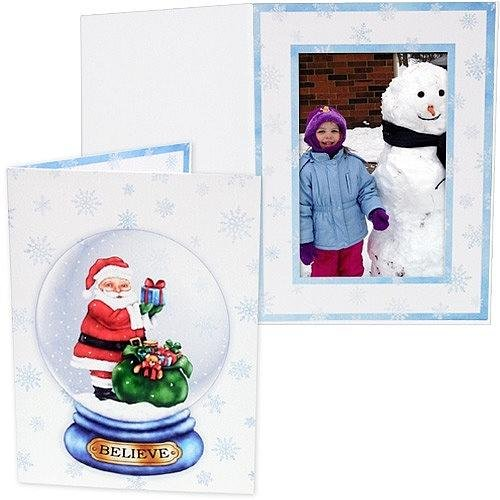 Santa Globe Printed Holiday Event Photo 5X7 Cardstock Folder Our Price Is For 50 Pcs - 5X7