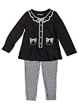 (62803) Kidtopia Girls 2T-6X Screen Print Button Tunic Set in Black, 5/6