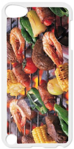 Barbeque Grill - Top View White Plastic Snap On Case - For The Apple Ipod Itouch 4Th Generation.