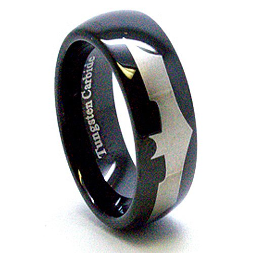 : Blue Chip Unlimited - Unique 8mm Black Tungsten Carbide Ring with Silver Laser Etched Batman Design Wedding Ring Engagement Band Fashion Jewelry Size 4