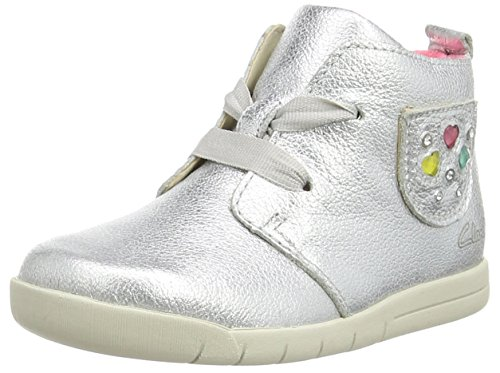 ClarksCrazy Tot Fst - Sneaker per neonati Unisex - Bimbi 0-24 , Grigio (Grau (Metallic Leather)), 24