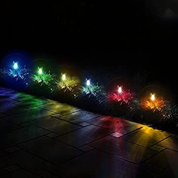 12Pack 6Color Solar Garden Lights / Path Lights, GIGALUMI Stainless Steel Led Pathway Landscape Lighting for Patio, Yard