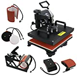 F2C® Pro 5 in 1 Digital Transfer Sublimation Heat Press Machine Hat/Mug/Plate/Cap/T-shirt Multifunction New Black(5 in 1)
