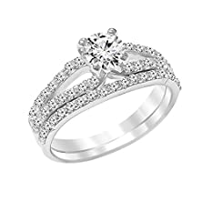 buy Sterling Silver Round Cubic Zirconia Engagement Ring Bridal Double Band Set - 7