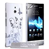 Yousave Accessories Floral Butterfly Hard Case for Sony Xperia P - White/Silver