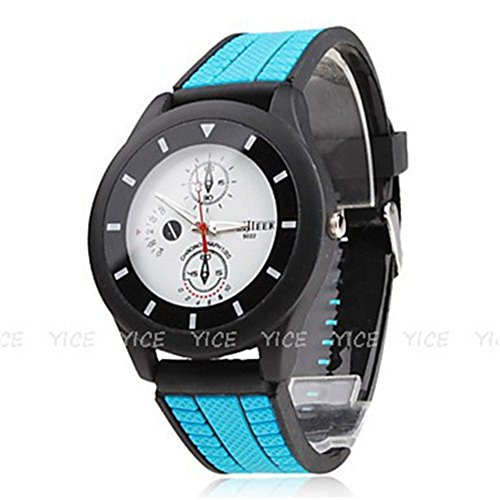 Weijieer Men'S Military Style Silicone Strap Quart Watch (Blue)