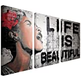 Art Wall Life is Beautiful Street Canvas Art by Mr. Brainwash, 18 by 24-Inch
