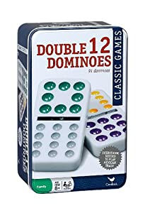Cardinal Double 12 Color Dot Dominoes in Tin