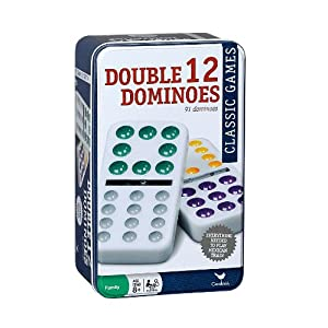 Cardinal Double 12 Color Dot Mexican Train Dominoes in Tin