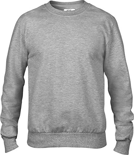 Anvil adulto girocollo pull over Spandex Polsini Cintura French Spugna Felpa Heather Grey small
