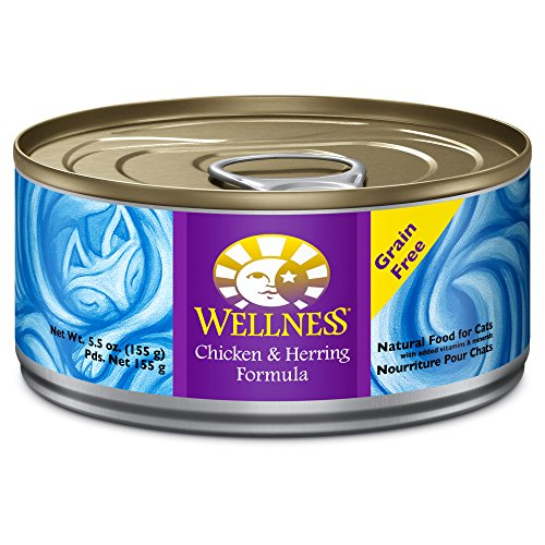 Wellness Complete Health Natural Canned Grain Free Wet Cat Food, Chicken & Herring Pate, 5.5-Ounce Can (Pack of 24)
