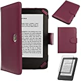 TECHGEAR� Purple Kindle PU Leather Folio Case Cover With Magnetic Clasp for Amazon Kindle eReader with 6 inch Screen [Book Style] **WITH FREE SCREEN GUARD INCLUDED**