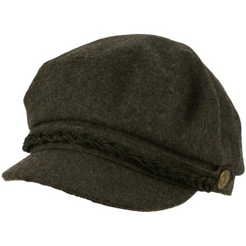 Men's Greek Fisherman Winter Wool Blend Cabby Driver Hat Flat Cap Charcoal Gray L/XL