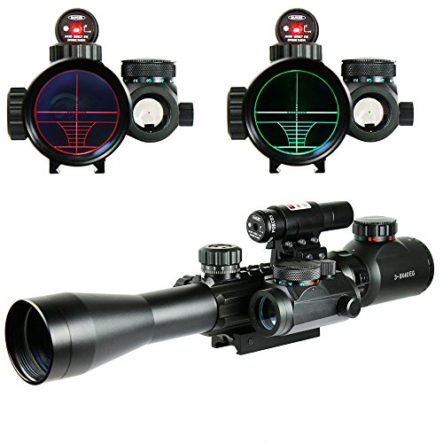 Chinoook 3-9X40 Illuminated Tactical Rifle Scope with Red Laser & Holographic Dot Sight (Gun Scope compare prices)