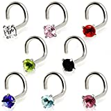 316L Surgical Steel Screw Nose Ring with Prong Set Gem (Sold Individually)