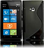 Black S Shape TPU Case Cover for Nokia Lumia 900