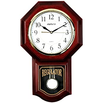Maples Traditional Plastic Wall Clock with Pendulum