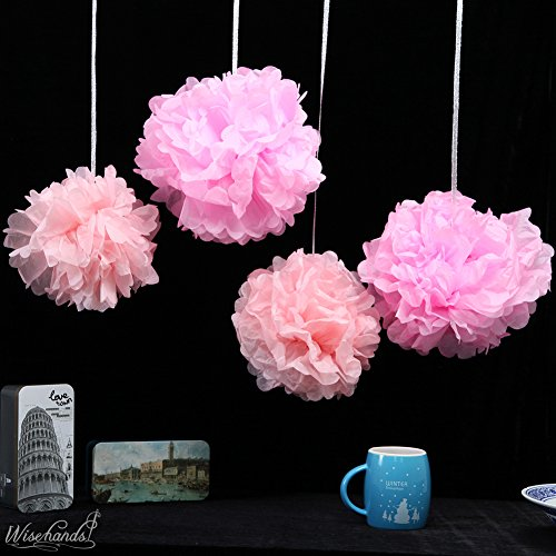 Pom Poms - 15pcs Tissue Paper Flowers,2 Different Colors,2 Sizes, Tissue Paper Pom Poms, Mother's Day decoration, Wedding Decor, Party Decor, Tissue Paper Pink, Tissue Paper Flowers Kit, Wedding, For Baby Shower -Pink and Light Pink (Baby Shower Tea compare prices)