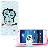 tinxi® Kunstleder Tasche für Samsung Galaxy S4 mini i9190 Tasche Schutzhülle Flipcase Case Cover Standfunktion mit Karten Slot schlafsüchtige Eule Owl