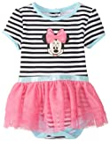 Disney Baby Baby-Girls Newborn Minnie Mouse Striped Skirted Creeper