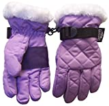 N'Ice Caps TM Girls Quilted Ski Glove With Fur Trim Iris/White 4-7Yrs