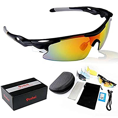 POSHEI P04 Polarized UV Protection Sports Glasses for Men or Women , Cycling Wrap Sunglasses with 5 Interchangeable Lenses Unbreakable , for Riding Driving Fishing Running Golf and All Outdoor Activities