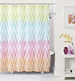 """Modern Elegance Ombre Chevron Water Color PEVA Shower Curtain 72"""" x 72"""" with Set of 12 Matching Hooks"""