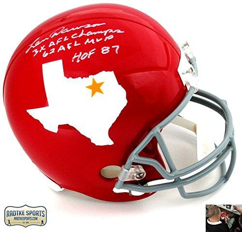 "Len Dawson Autographed/Signed Dallas Texans Riddell Throwback Full Size NFL Helmet with ""3x AFL Champs - 62 AFL MVP - HOF 87"" Inscription"