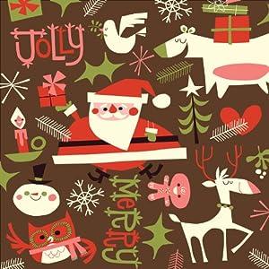 Jillson Roberts Recycled Christmas Gift Wrap, Retro Santa, 6 Count (XR560)