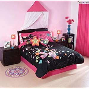 Pink Butterfly Comforter Bedding Set Twin 10 Pcs