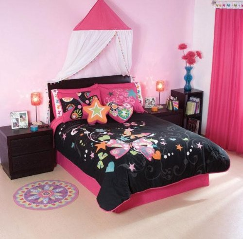 black pink butterfly comforter bedding set twin 7 pcs