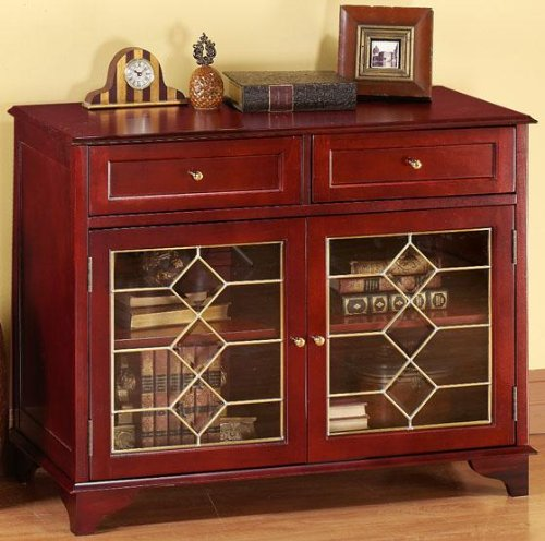 Cheap Barrister Lowboy Sideboard Buffet Table With 2 Diamond Glass Doors,  2 DOOR DIAMOND, MAHOGANY Review