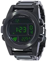 Nixon A360032 unit ss all black/green digital dial metal bracelet men watch NEW