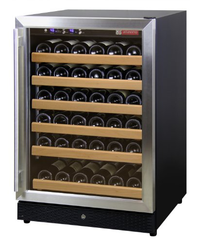 New Allavino MWR-541-SSR 51 Bottle Wine Cooler Refrigerator - Black Cabinet with Stainless Steel Doo...