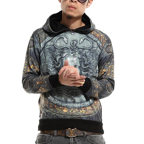 Zero Hipster Hip Hop Religious Medusa Printing Hoody Sweater Jacket (Xl (Us Size L ), No.1)