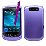 Samrick Glossy Hard Hybrid Armour Shell Protection Case, Screen Protector, Microfibre Cloth, Purple High Capacitive Stylus Pen for Blackberry 9800 Torch/9810 Torch 2 - Purple