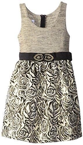 Bonnie Jean Little Girls' Knit To Brocade Waistline Dress