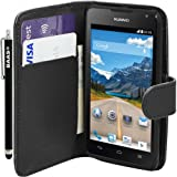 BAAS® Huawei Ascend Y530 Black PU Leather Folio Case Wallet Pouch Flip Cover with Card Holder ,2X Screen Protector Film & Stylus Pen